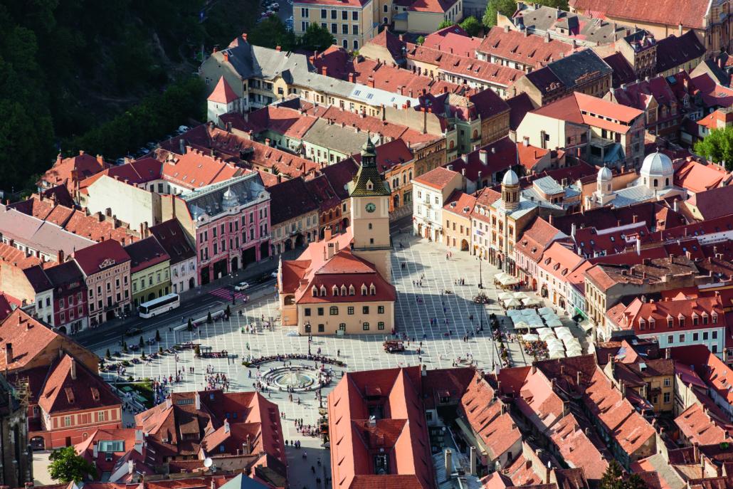 Brasov main square - Piata Sfatului, Transylvamia, Romania